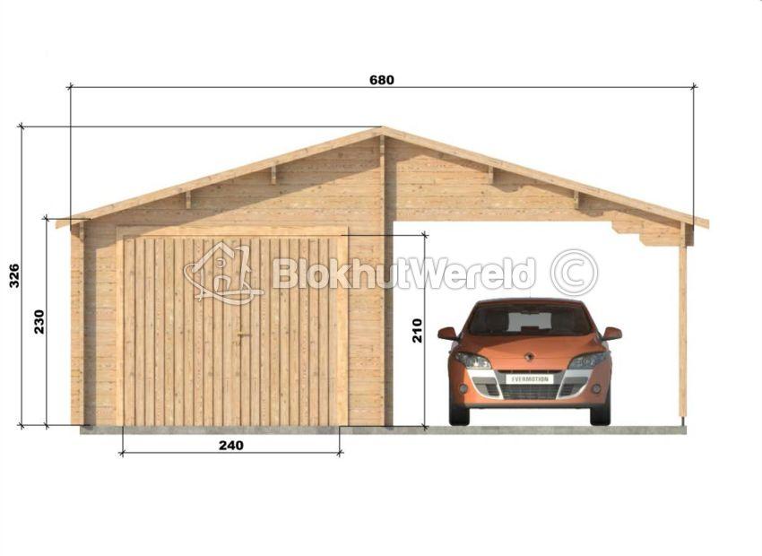 Houten garage en carport Flevoland 6x5,6m 44mm | Blokhutwereld.nl